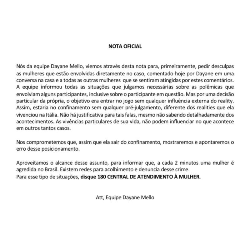 Nota oficial da equipe de Dayane Mello – Foto: Internet