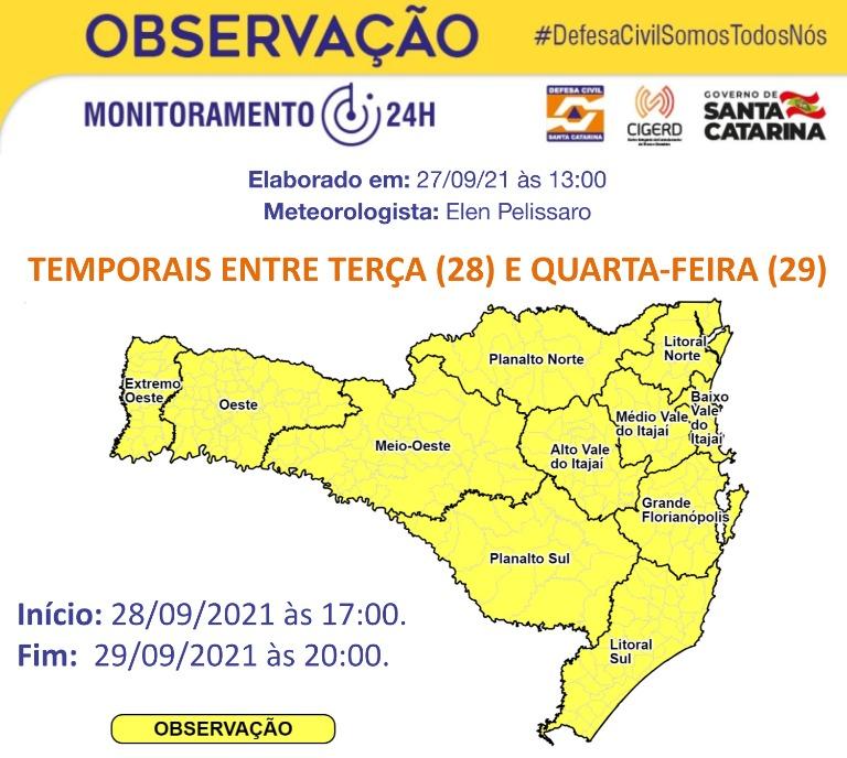 Risco é moderado em todas as regiões de Santa Catarina – Foto: Defesa Civil de Santa Catarina/Divulgação/ND