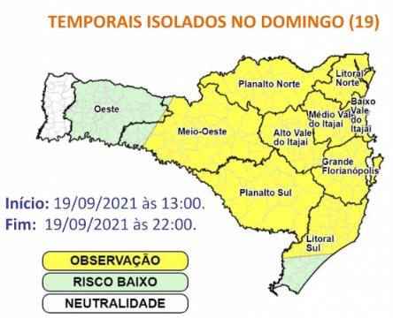 Alerta para temporais em SC – Foto: Defesa Civil de SC/Divulgação/ND