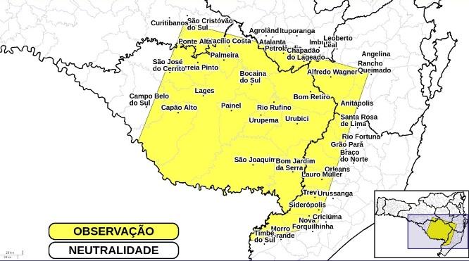 Defesa Civil alerta para temporais – Foto: Defesa Civil de SC/Divulgação/ND