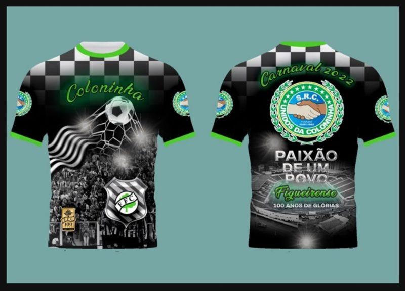 Camiseta oficial da Unidos da Coloninha para o Carnaval 2022 – Foto: Divulgação/ND