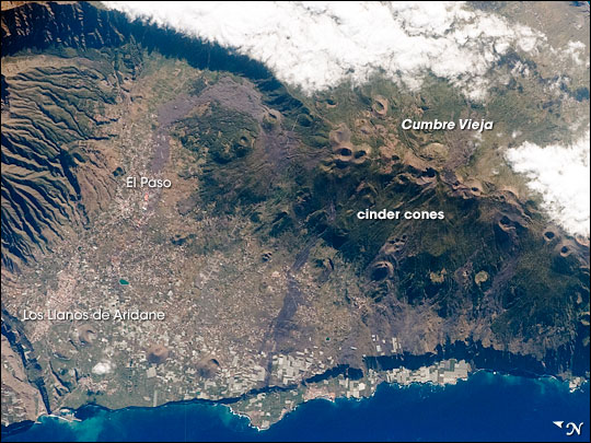 Vista área do Vulcão Cumbre Vieja, em maio de 2008 – Foto: NASA Astronaut/Divulgação