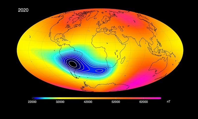 Anomalia do campo magnético é demonstrada por marca escura acima do Sul do Brasil – Foto: Agência Espacial Europeia/Reprodução/ND