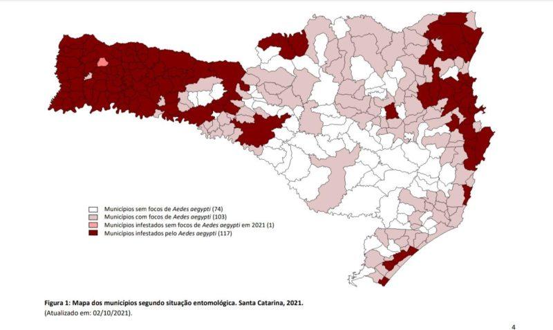 No mapa de Santa Catarina estão identificados os municípios infestados pelo Aedes aegypti – Foto: Infográfico/ Dive/ Reprodução / ND