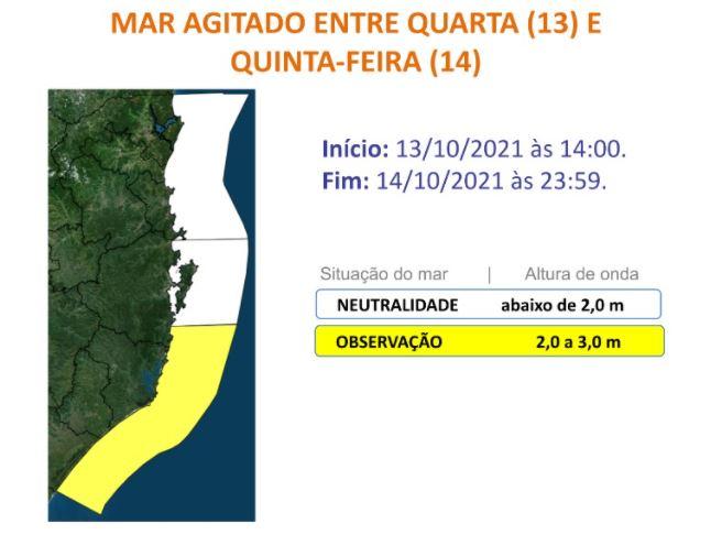 Imagem mostra alerta de observação para o litoral Sul de SC