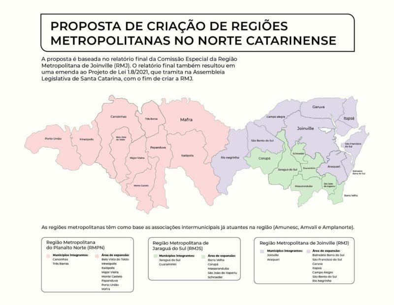 Como serão divididas as regiões metropolitanas – Foto: Arquivo ND+